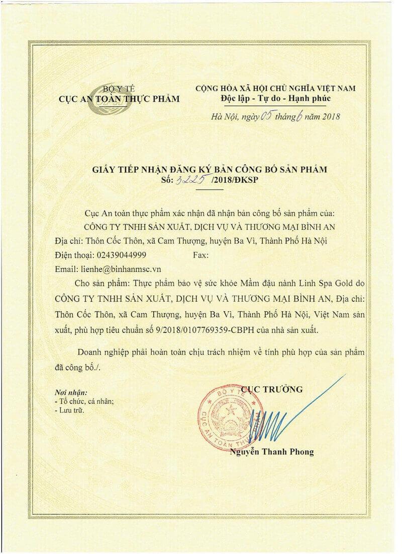 Bản công bố hợp quy Mầm đậu nành Linh Spa Gold
