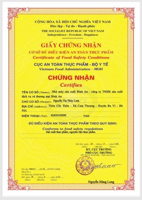 Giấy chứng nhận an toàn thực phẩm Nhà máy sản xuất Bình An