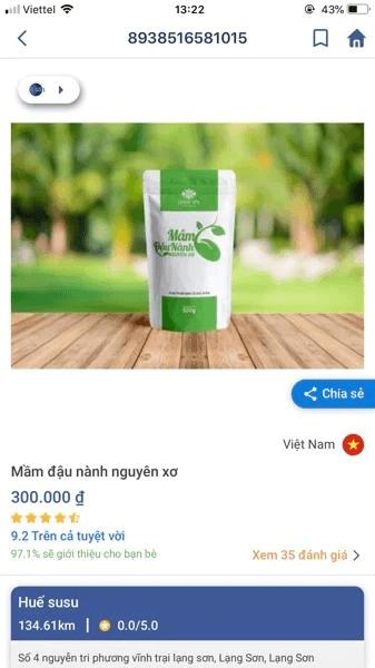 Thông tin truy xuất sản phẩm mầm đậu nành Linh Spa